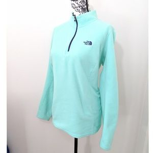 The North Face Mint Green 1/4 Zip Pullover Fleece